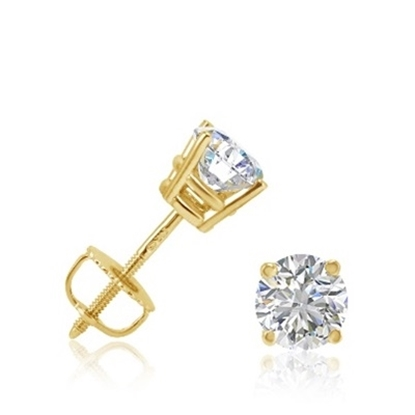 Picture of Lotus Collection 14K Yellow Gold Round Stud Earrings - 1.00ct Diamonds