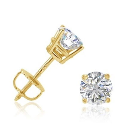 Picture of Lotus Collection 14K Yellow Gold Round Stud Earrings - .50ct Diamonds