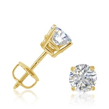 Picture of Lotus Collection 14K Yellow Gold Round Stud Earrings - .25ct Diamonds