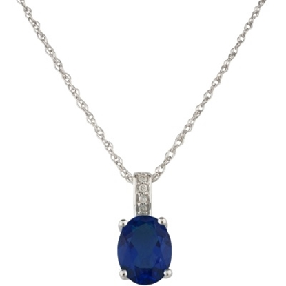 Picture of Lali 14K White Gold Sapphire Pendant w/ Chain