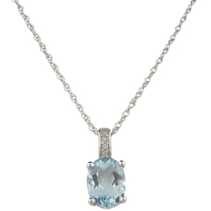 Picture of Lali 14K White Gold Aquamarine Pendant w/ Chain