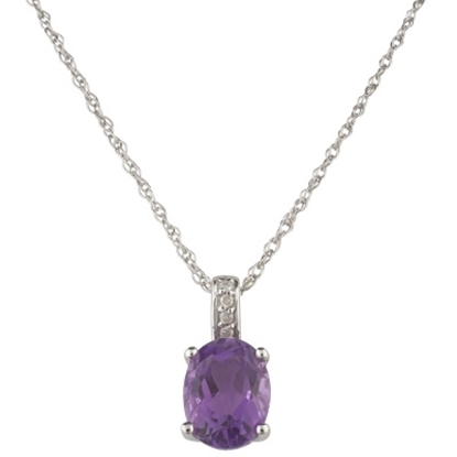 Picture of Lali 14K White Gold Amethyst Pendant w/ Chain