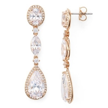 Picture of Nadri Cubic Zirconia Pear Oval Rose Gold Drop Earrings