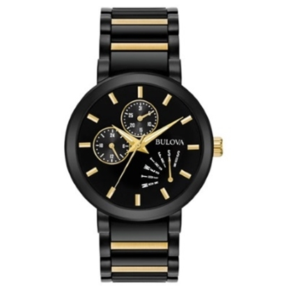 Picture of Bulova Classic Quartz Black-Tone Watch with Black/Gold Dial