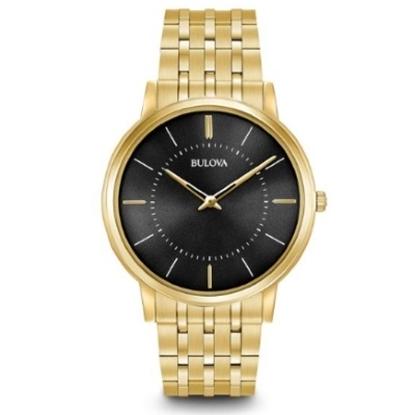 Picture of Bulova Classic Quartz Men's Gold-Tone Watch with Black Dial