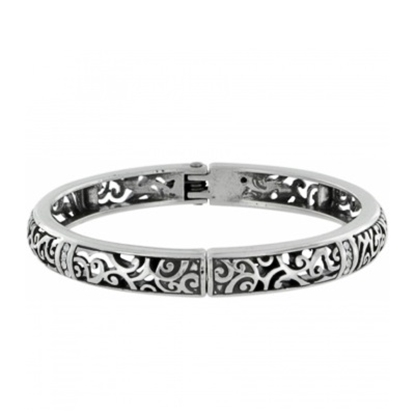 Picture of Brighton Viewpoint Hinge Bangle - Silver/Stone