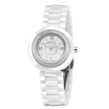 Picture of ALOR® White Ceramic Watch with White/Crystal Dial