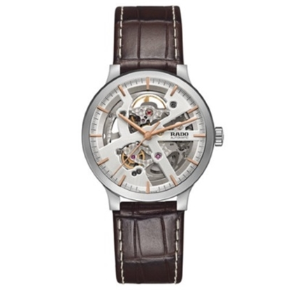 Picture of Rado Centrix Auto Brown Leather Strap Watch w/ Skeleton Dial