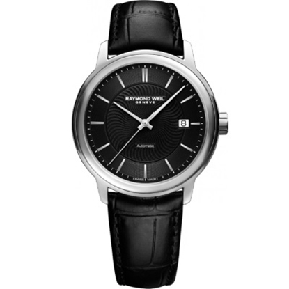 Picture of Raymond Weil Men's Maestro Black Leather Watch with Black Dial
