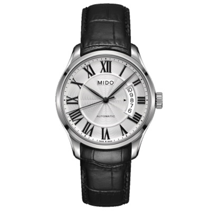 Picture of Mido Belluna II Auto Black Leather Watch with Silver Dial