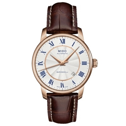 Picture of Mido Baroncelli II Auto - Brown Leather Strap & Rose Gold Case