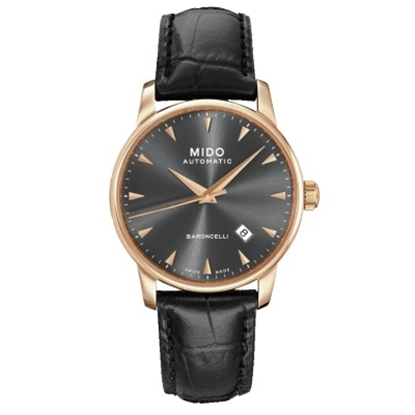 Picture of Mido Baroncelli II Auto Watch - Black Leather Strap/Black Dial