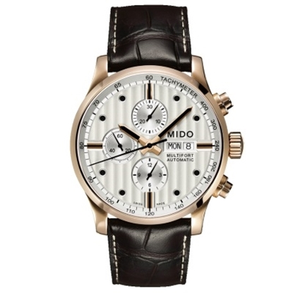 Picture of Mido Multifort Chrono Brown Leather & Rose Gold-Tone Watch