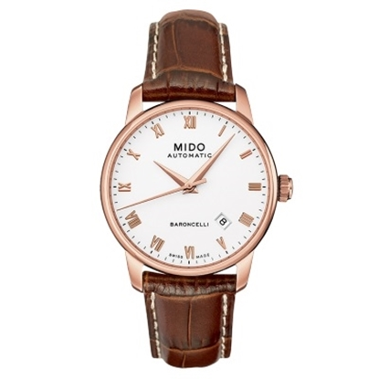 Picture of Mido Baroncelli II Gent Auto - Brown Leather Strap/White Dial