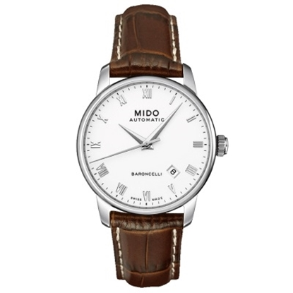 Picture of Mido Baroncelli II Auto with Brown Leather Strap & White Dial