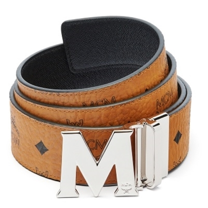 Picture of MCM Claus Reversible Silver Buckle Belt - Cognac