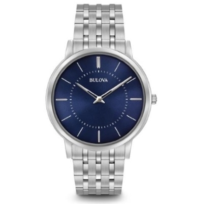 Picture of Bulova Men's Dress Slim Stainless Steel Watch with Blue Dial