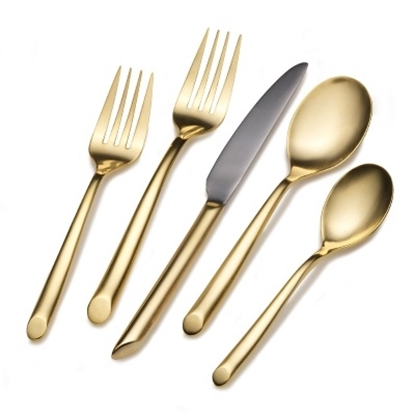 Picture of Towle Living Wave 20-Piece 24K Gold Plated Flatware Set