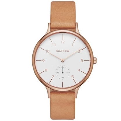 Picture of Skagen Anita Sub-Eye Brown Leather Watch with White Dial