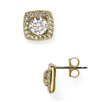 Picture of Nadri Square Framed Cubic Zirconia Stud Earrings - Gold
