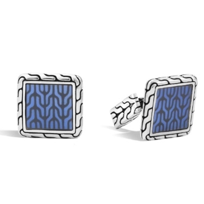 Picture of John Hardy Classic Chain Silver Square Cufflinks - Blue