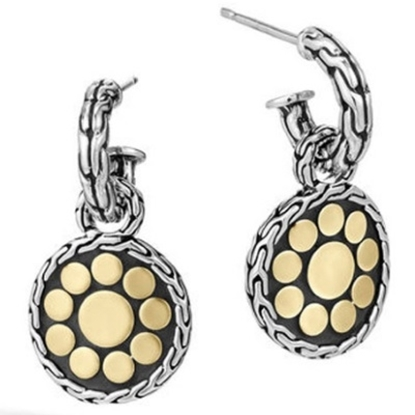 Picture of John Hardy Dot Gold and Silver Small Round Drop Earrings