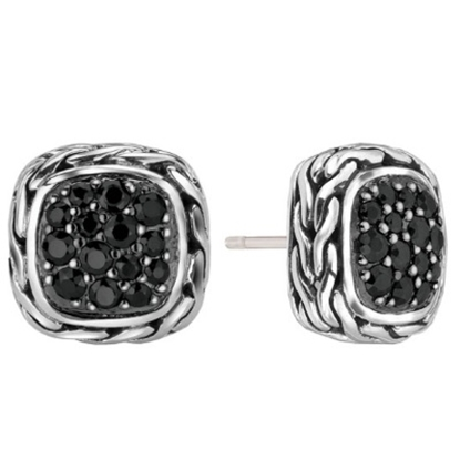 Picture of John Hardy Classic Silver Chain Small Black Sapphire Earrings
