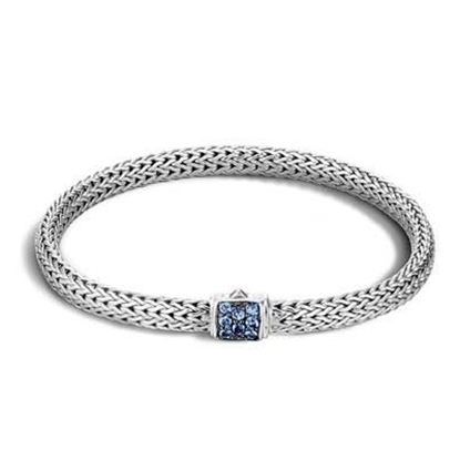 Picture of John Hardy Classic Chain XS Blue Sapphire Bracelet - Silver