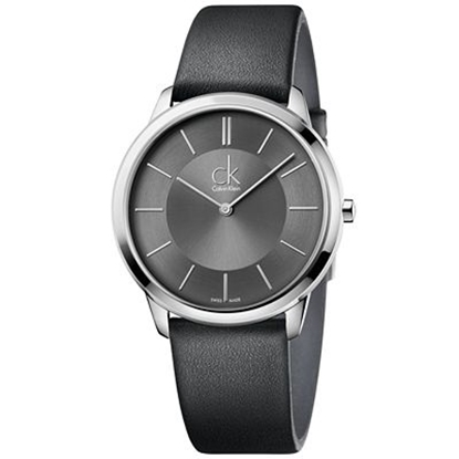 Picture of Calvin Klein Men's Minimal Black Leather Watch with Black Dial
