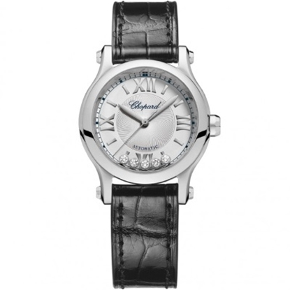 Picture of Chopard Happy Sport Black Leather Watch with Silver Dial