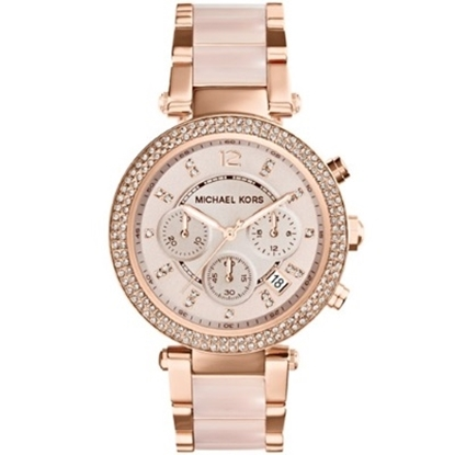Picture of Michael Kors Mid-Size Rose Golden Parker Glitz Chrono