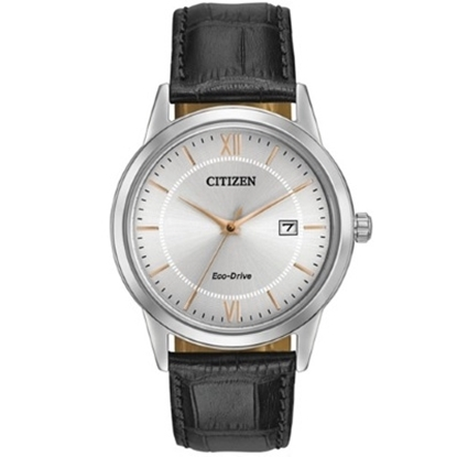 Picture of Citizen Men's Black Leather Strap Watch with Rose Gold Accents