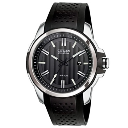Picture of Citizen AR Eco-Drive Watch w/ Black Rubber Strap & Black Dial