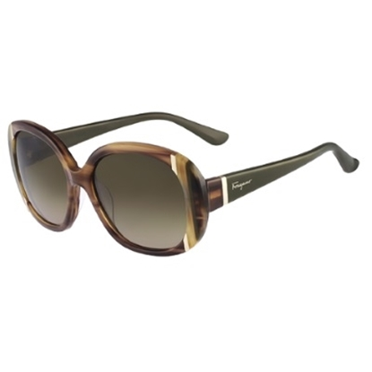 Picture of Salvatore Ferragamo Ladies Oversized Sunglasses- Striped Brown