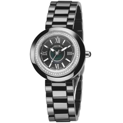 Picture of ALOR Stainless Steel/Ceramic Watch with Black/Crystal Dial
