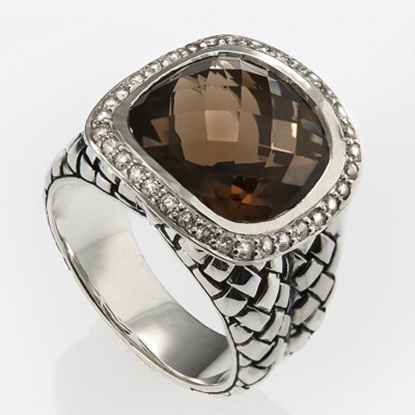 Picture of Scott Kay Smokey Quartz Ring with Diamonds - Size 7
