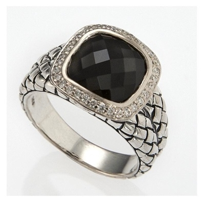 Picture of Scott Kay Faceted Onyx Basketweave Ring - Size 7.5