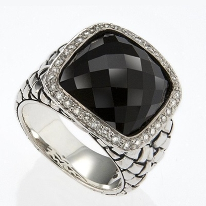 Picture of Scott Kay Onyx Basketweave Ring with Diamonds - Size 8