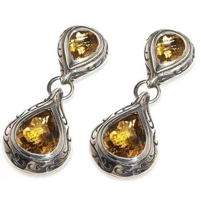 Picture of Scott Kay Citrine Engraved Drop Earrings