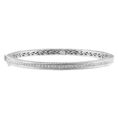 Picture of DeLatori Pompeii Nero White Topaz Bangle - Sterling Silver