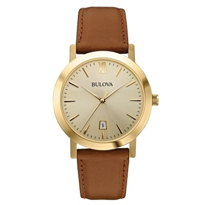 Picture of Bulova Dress Watch with Champagne Dial & Brown Leather Strap