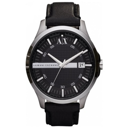Picture of Armani Exchange Men's Smart Black Leather Strap Watch