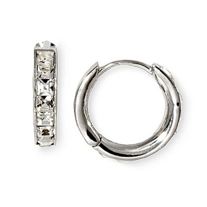 Picture of Nadri Tiny Channel Set Hoop Earrings