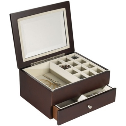 Picture of Wallace® Jewelry Box With Beveled Glass Lid - Dark Walnut