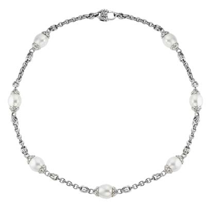 "Picture of Scott Kay 17"" Signature Link Pearl Necklace"