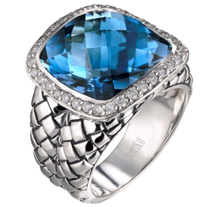 Picture of Scott Kay London Blue Basketweave Ring - Size 8