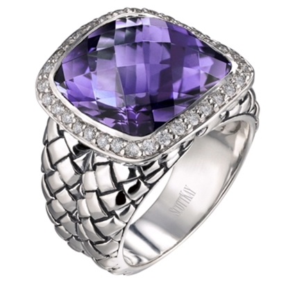 Picture of Scott Kay Amethyst Basketweave Ring - Size 8