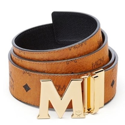Picture of MCM Claus Reversible Silver Buckle Belt