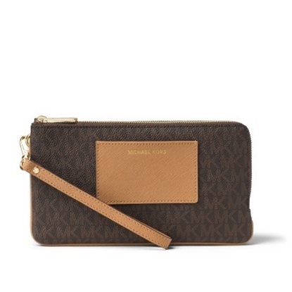 Picture of Michael Kors Bedford Signature Dbl Zip Wristlet