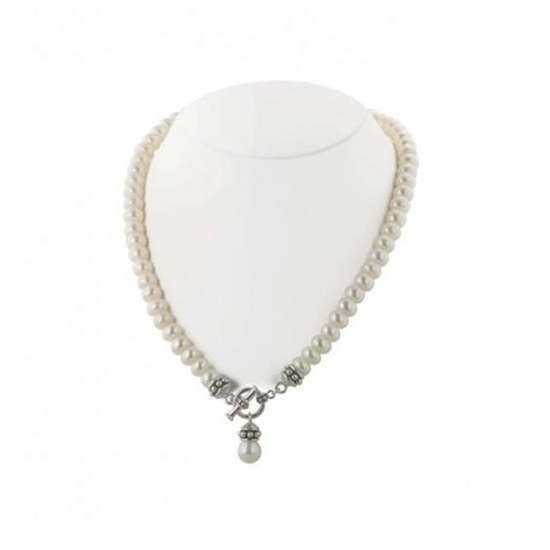 Picture of Honora White Pearl 17-Inch Pallini Toggle Necklace